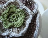 SALES - 50 % Crochet Flower Hair Clip.Olive Green, beige, light grey, brown. Handmade with a very thin cotton thread.Ready to ship