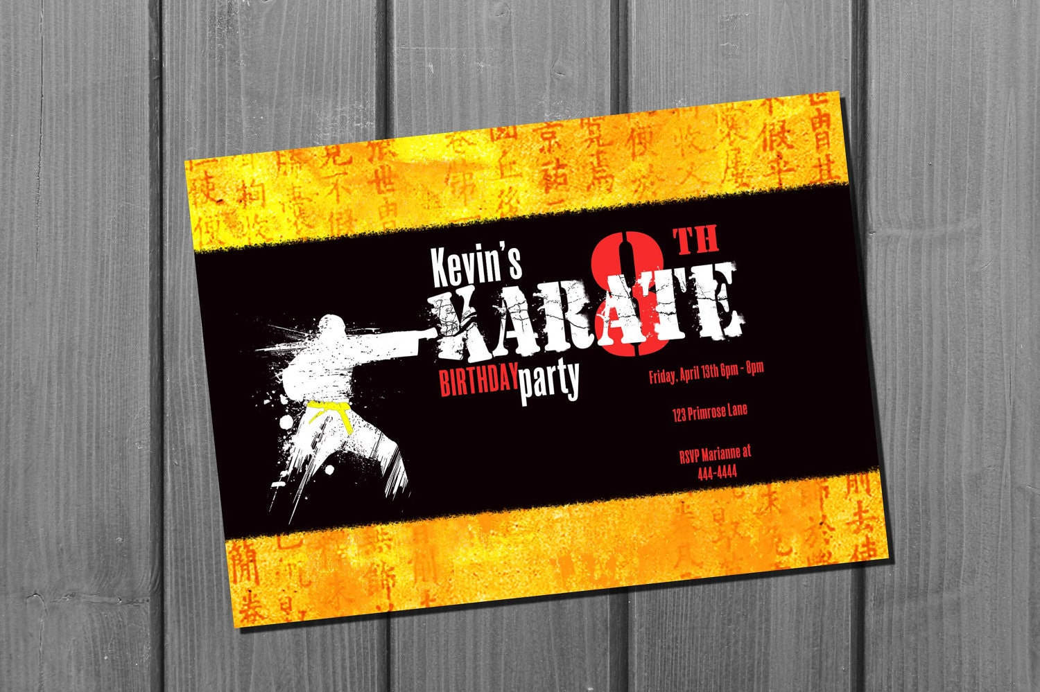 Karate Birthday Invitation Card Martial Arts Birthday Party – Martial Arts Birthday Invitations