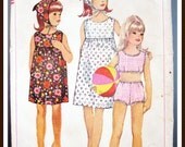 Vintage1960s SIMPLICITY Pattern 6471 SIZE 10 Girls 2 Piece Bathing Suit Sun Dress CUT Complete