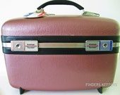 Vintage Retro American Tourister Pageant Make-up Train Case Luggage KEYS Mauve Berry Pearl Metallic Finish