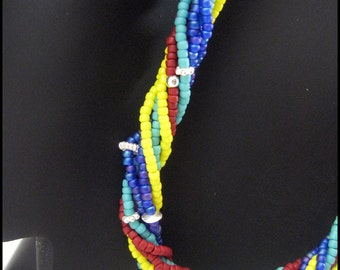Handmade Necklace - Autism Awareness - Multi-strand Seed Beads with Sterling Silver Accent Beads