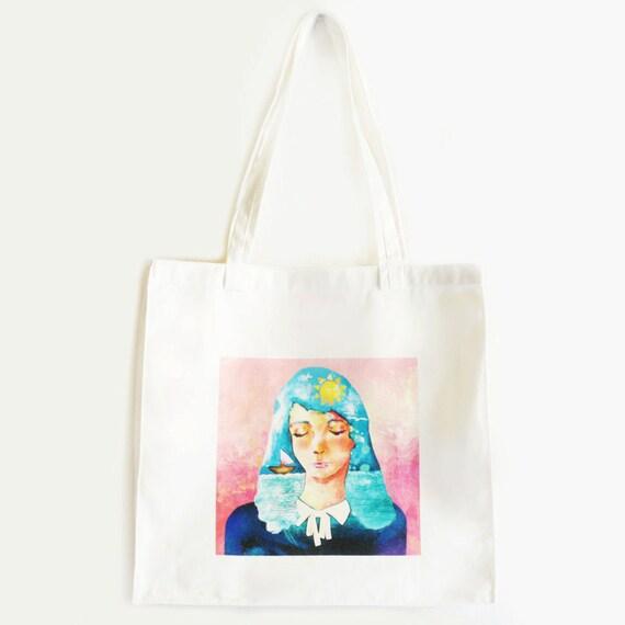 Custom Tote Bag Illustrated White BABY BLUE