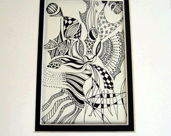 Original black ink pen drawing on paper with double matte.