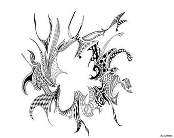 "Black ink drawing digital print. Printed on 100 lb. matte cardstock. Titled ""Ring"""