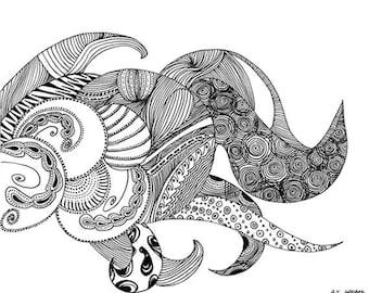 """Original Black Ink Pen Drawing on Cardstock.  Titled """"Sea Monster"""""""