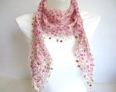 Floral Spring Fashion, Cotton Scarf with Natural Stone beads, Pink