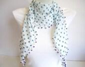 White Blue Polka Dot, Elegant Cotton Scarf with Evil Eye Beads, for her, 2012 Fashion, Summer