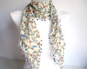 Floral Elegant Cotton Scarf , for her, 2012 Fashion, Blue, Orange, Green