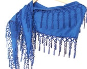 Navy Blue Pashmina Scarf with Lace Women Accessory,Elegant, Shawl, Neckwarmer, Valentines day, Gift, 2012, Spring trends and Fashion
