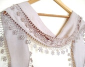 Light Brown Pashmina Scarf with Lace Women Accessory,Elegant, Shawl, Neckwarmer, Valentines day, Gift, 2012, Spring trends and Fashion