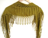 Olive Green Pashmina Scarf with Lace Women Accessory, Elegant, Shawl, Neckwarmer, Gift, 2012, Spring trends