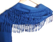 Navy Blue Pashmina Scarf with Lace, Women Accessory