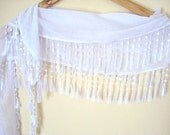Cotton Scarf with lace, White