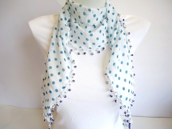White Blue Polka Dot, Elegant Cotton Scarf with Evil Eye Beads, for her, 2012 Fashion, Summer