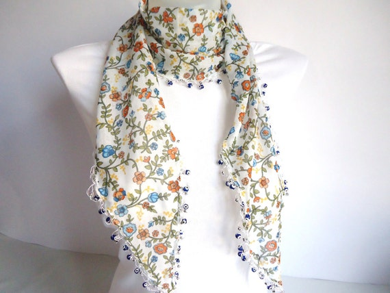 Floral Elegant Cotton Scarf , for her, 2012 Fashion, Blue, Orange, Green
