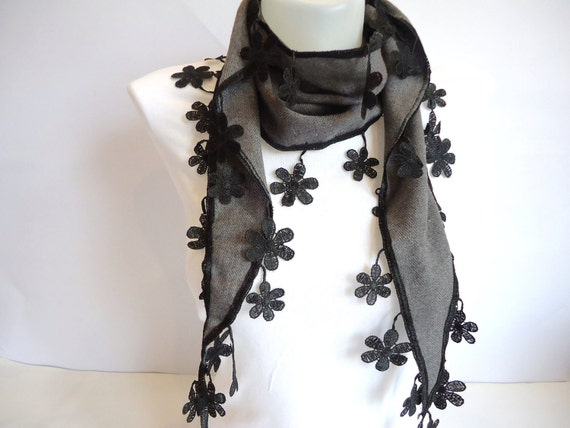 Gray Scarf with Flower Shaped Lace