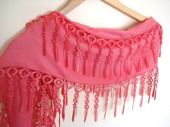 Pink Pashmina Scarf With Lace, Winter Trends, For Women, 2012, For Gift, Fashion