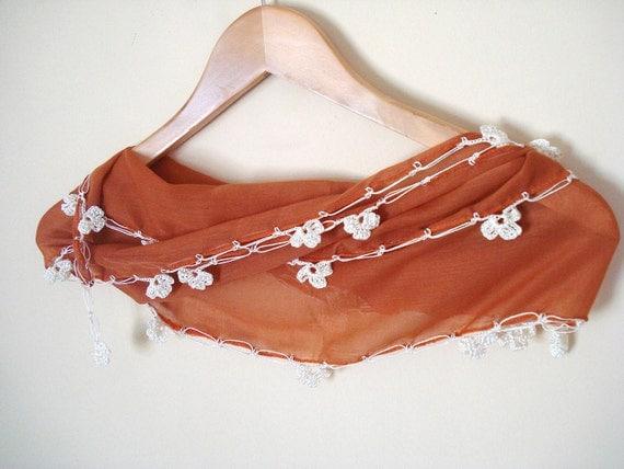 Burnt Orange Elegant Scarf, Cotton Scarf, Crocheted Scarf