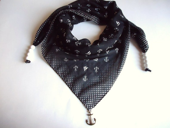 Black  Anchor - Nautical Scarf, Cotton Scarf, Black