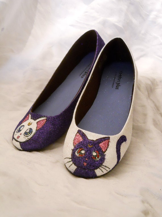 Sailor Moon Artemis and Luna Glitter Shoes