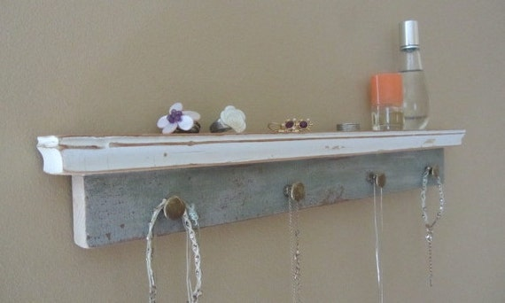 Shelf and Hanging Jewelry Rack - Reclaimed Wood