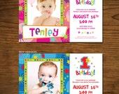 One-derful First Birthday Invitation Photo Card, 5x7, Printable, Custom, Girl or Boy
