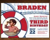 Nautical Boy Birthday Photo Card Invitation, Customizable, Printable