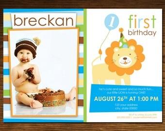 Sweet at One Lion Boy Birthday Invitation Photo Card, Jungle Theme, 5x7, Printable, Custom #20