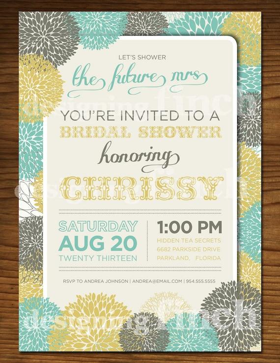 Whimsical Flower Vintage Bridal Shower Invitation, Customizable, Printable