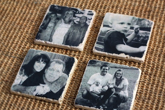 Personalized Gift - Photo Coasters Custom and Personalized, Housewarming Gift  -  Use Your Own Photos - Set of 4