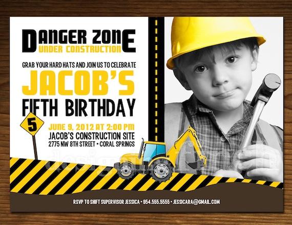 Construction Birthday Invitation Photo Card, Customizable, Printable #55