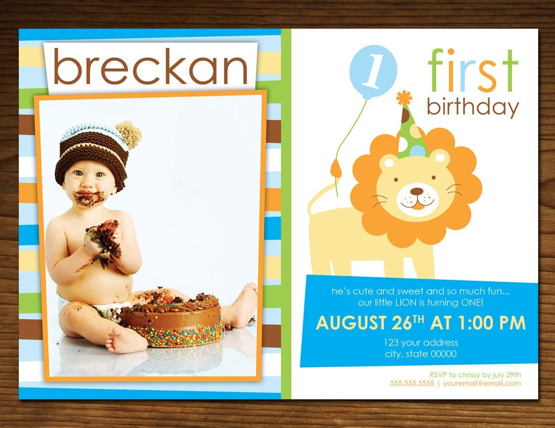 Sweet at One Lion Boy Birthday Invitation Photo Card Jungle