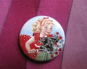 Scooter Girl & Her Dog Pinback BUTTON PIN