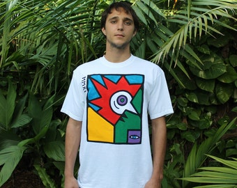 The Rooster - Colorful Hand Painted TShirts. Made to order by Disrud