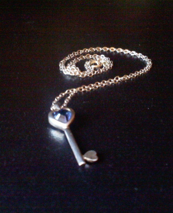 Vintage sterling silver heart sapphire key pendant