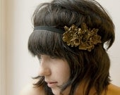 Boho chic recycled light brown leather flower elastic headband