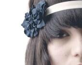 Navy blue floral elastic headband