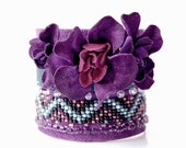Bohemian gypsy leather and beaded floral cuff