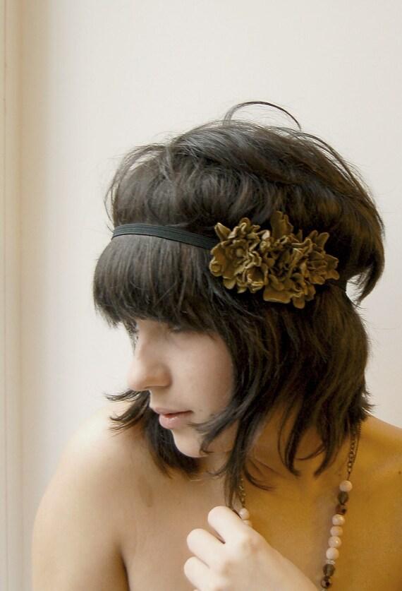 Boho chic recycled light brown leather flower elastic headband