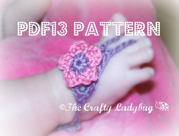 PDF13 flower barefoot sandals pattern - newborn to toddler sizes included