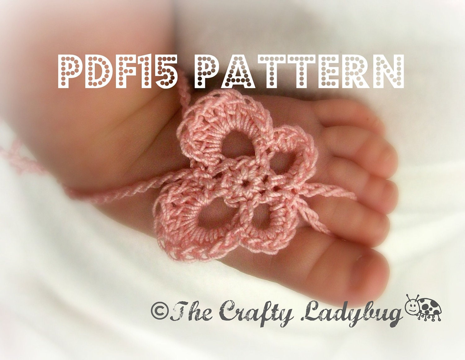 Crochet Pattern For Baby Barefoot Sandals : Butterfly barefoot baby sandals crochet pattern for newborn