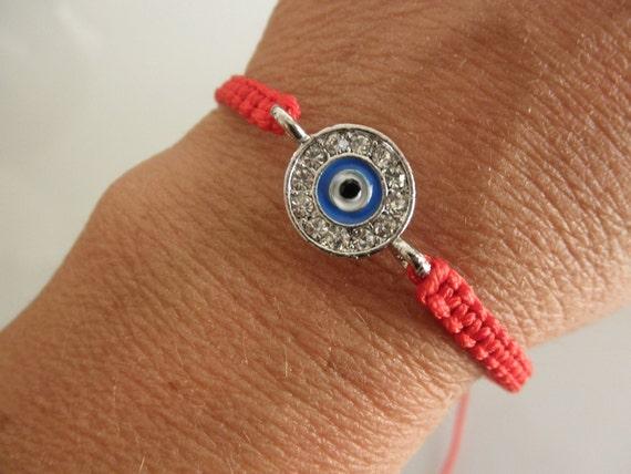 rhinestone evil eye bracelet on  macrame -blue-