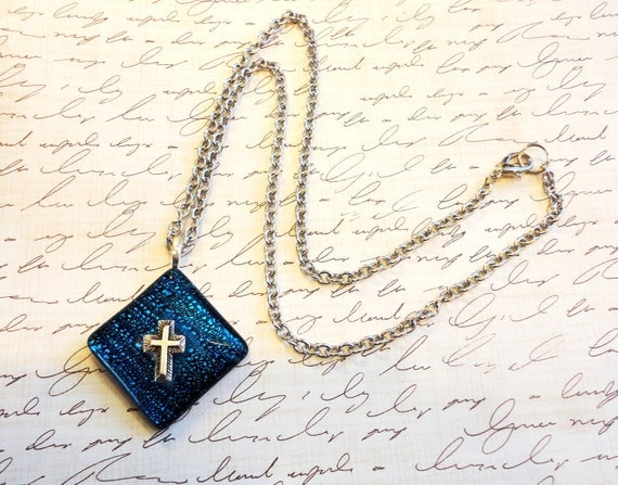 Royal Blue Fused Glass Tile with Silvertone Cross Necklace