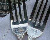 Bonus Offer** Free wine tag with purchase until 9/10/13 Vintage Silver Personalized Engraved/Hand Stamped Custom Fork Set Wedding Gift