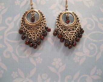Anna Chandelier Earrings with Garnets - silver red formal dangle dangly formal
