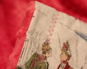 Magenta pink minky baby or toddler blanket- Victorian Ladies