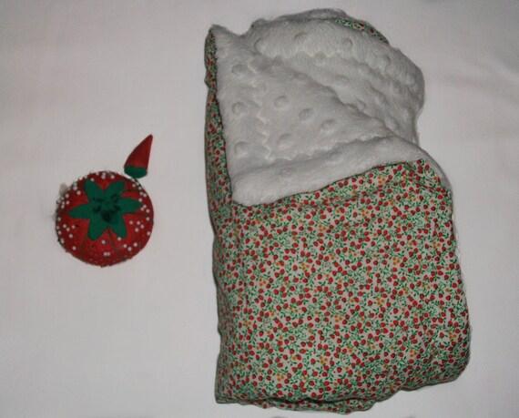 Reserved-Strawberry burst minky baby blanket