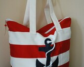 Red and white striped sailor shoulder bag - Tote Bag by TulipBag