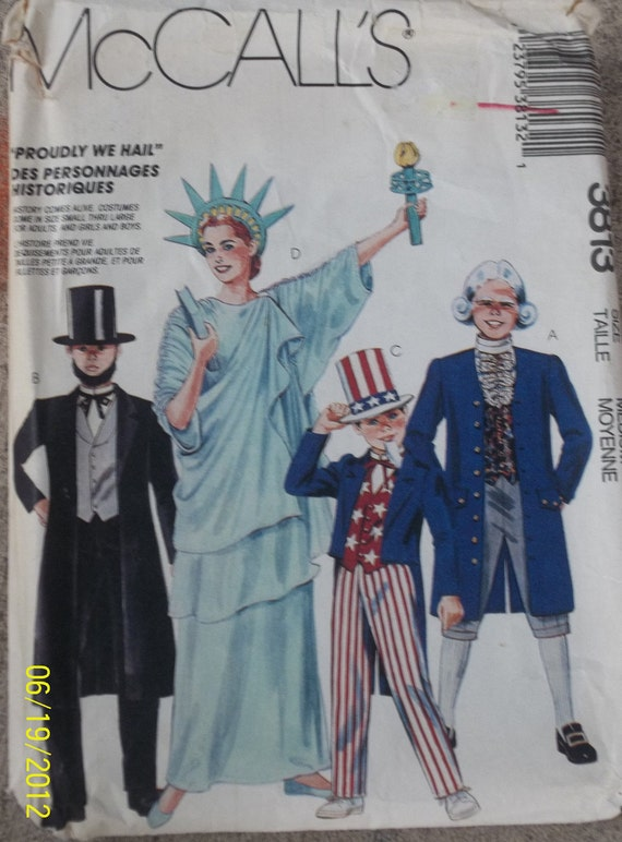 McCall's 3813 Costume Pattern Lady Liberty Statue of Liberty Abraham Lincoln Patriotic Uncle Sam Ben Franklin Size  6/7