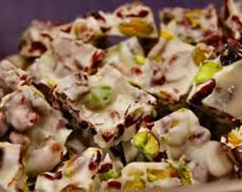 White Chocolate Bark Cranberry Pistachio 1 Lb Platter, Bark, Chocolate Bark, Pistachio Bark